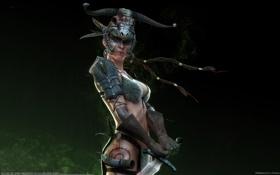 Картинка девушка, оружие, дым, череп, меч, воин, арт