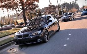 Картинка дорога, bmw, скорость, черная, синяя