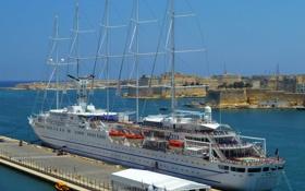 Обои Мальта, скалы, небо, причал, крепость, город, парусник