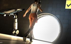 Картинка девушка, игра, спина, портал, portal, куб, chell