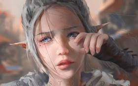 Обои art, слезы, ghostblade, эльфийка, девушка, wlop