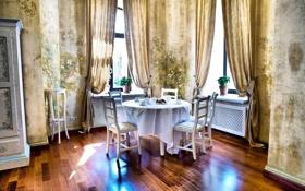 Картинка дизайн, стол, комната, стулья, интерьер, окно, занавески