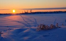Обои зима, снег, закат, настроение, лично тебе