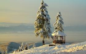 Обои зима, небо, снег, горы, беседка, BelleVue
