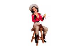 Обои девушка, шляпа, сигарета, стул, табуретка, pin up, пудреница