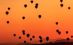 Обои Каппадокия, небо, зарево, горы, Турция, воздушный шар
