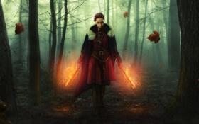 Картинка огонь, кинжал, forest, woman