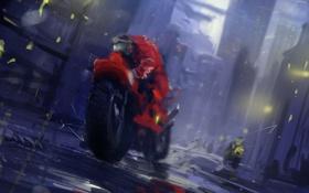 Обои дорога, скорость, арт, лужи, шлем, мотоциклисты