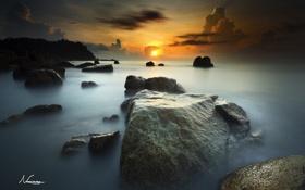 Картинка солнце, камни, океан, рассвет, горизонт