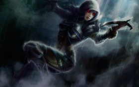 Картинка дождь, demon, Diablo 3, охотник, арбалет, hunter