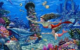 Обои рыбы, кораллы, арт, дельфины, подводный мир, русалки, морское дно