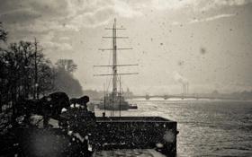 Картинка шторм, река, корабль, Russia, питер, санкт-петербург, нева