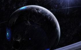 Обои звезды, круги, планета, кольца