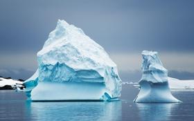 Картинка небо, океан, лёд, айсберг, Антарктика