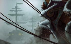Картинка море, девушка, шторм, парусник, монстр, корабли, фигура