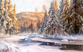 Картинка лес, Anshelm Schultzberg, пейзаж, зима, лед, елки, снег