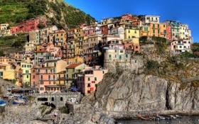 Картинка скала, здания, дома, Италия, Italy, Manarola, Манарола