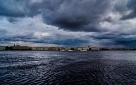 Обои Питер, Река, Тучи, Санкт-Петербург, Russia, спб, Нева