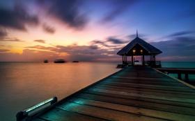Обои море, пейзаж, закат, pier