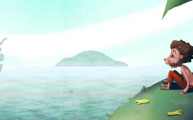Обои море, человек, корабль, остров, арт, бананы, щетина