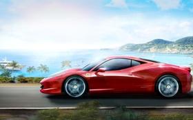 Картинка дорога, пальмы, океан, остров, ferrari, ибица, test drive unlimited 2