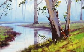 Обои листья, деревья, природа, река, landscape, artsaus, Australian арт