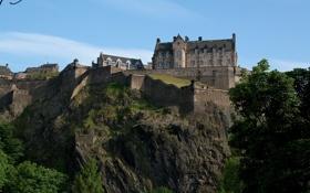 Обои замок, скалы, крепость, эдинбург