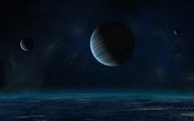 Обои звезды, пространство, планеты, луны, газовый гигант