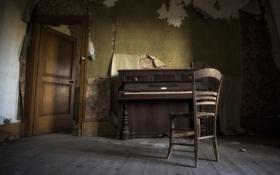 Обои пианино, стул, комната