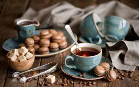Картинка кофе, зерна, печенье, ложка, чашки, сахар, кружки