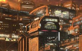 Обои город, будущее, люди, метро, япония, вокзал, строения