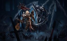 Картинка девушка, оружие, армия, арт, битва, нежить, Diablo III
