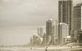 Обои море, дети, город, фото, люди, настроение, океан