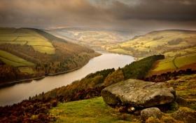 Обои река, камни, холмы, долина