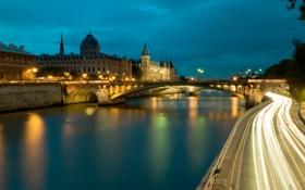Картинка дорога, мост, город, огни, река, замок, Франция