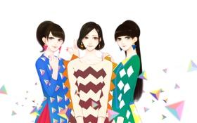 Картинка сердце, Девушки, трое, геометрические фигуры