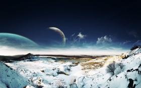 Обои облака, небо, фэнтези, озеро, Dreamy Sky Snow Landscape, зима, снег
