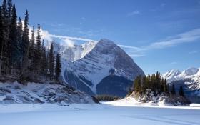 Картинка лед, зима, небо, снег, деревья, пейзаж, горы