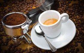 Картинка кофе, зерна, ложка, чашка, блюдце, пенка, молотый