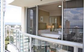 Картинка дизайн, город, стиль, интерьер, спальня, апартаменты, apartment features