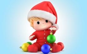 Обои kid, christmas, санта, новый год, baby, santa, santa claus