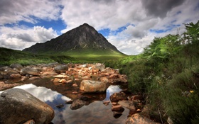 Обои река, камни, гора