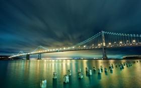 Картинка ночь, мост, город, огни, сша, сан франциско