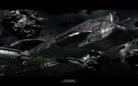 Картинка космос, корабль, астероиды, In the Dark