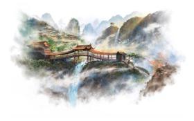 Картинка горы, скалы, азия, рисунок, арт, белый фон, храм
