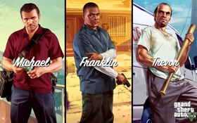 Картинка майкл, франклин, тревор, grand theft auto v