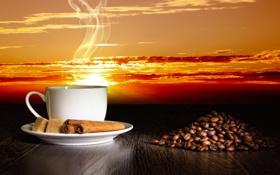 Обои кофе, зерна, чашка, sky, sunset, clouds, sun