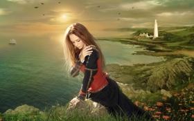 Картинка море, девушка, закат, романтика, маяк, корабль