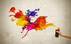 Обои фиолетовый, оранжевый, синий, красный, жёлтый, креатив, краски
