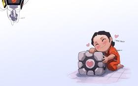 Обои Portal, куб, Valve